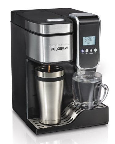 Hamilton Beach 49988 FlexBrew Programmable Single Serve Coffeemaker with Hot Water Dispenser Coffee Maker Grinder Combination